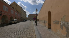 Old buildings with arches in Loreta Square, Prague Stock Footage