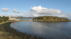 Coast and Inchcolm Abbey Scotland Stock Footage