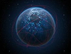 Planet With Illuminated Network And Light Trails - stock illustration