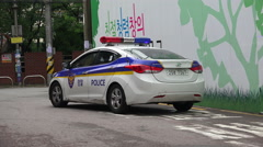 Seoul Police Car Drivng Away South Korea Stock Footage