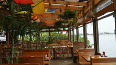 Restaurant Open Air Inside on the Water, 4K Stock Footage
