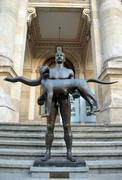 Stock Photo of Statue of naked Emperor Trajan outside National Museum, Bucharest, Romania