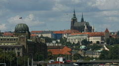 View of the Ministry of Industry and Trade and St. Vitus Cathedral, Prague Stock Footage