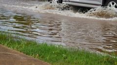 Flooded street after heavy rainfall Stock Footage