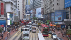Aerial view bustling street traffic Hong Kong tramway tram pass asian lifestyle  Stock Footage