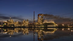 Oil refinery at night Stock Footage