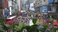 Amazing framing Hong Kong downtown pedestrian cross avenue rainy day rain fall   Stock Footage