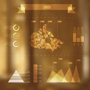 Abstract Canada Map with Infographic Elements on Blurred Background Stock Illustration