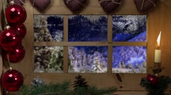 Animated Holiday Christmas  and winter landscape background Stock Footage