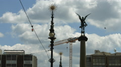 Angel statue and lamp posts on Čechův most, Prague Stock Footage