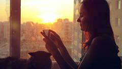 Attractive young woman uses mobile phone relaxing with her lovely Maine Coon cat Stock Footage