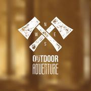 Outdoor adventure t-shirt logo design - vector illustration - stock illustration