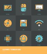 Electronics / Technology Vecotor Grunge Icons VOL.1 - stock illustration