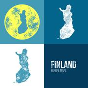 Finland Grunge Retro Map - stock illustration