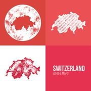 Switzerland Grunge Retro Map Stock Illustration