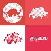 Switzerland Grunge Retro Map Piirros