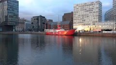 4k Liverpool skyline modern buildings view from seafront Albert docks area - stock footage