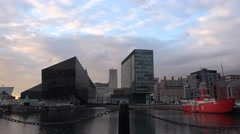 4k Liverpool skyline modern buildings view from seafront Albert docks area Stock Footage