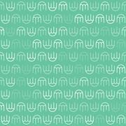 White Jellyfish Pattern on Green Background - stock illustration