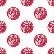 Red Sea Shell Pattern on White Background - stock illustration