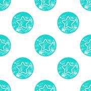 Blue Sea Star Patten on White Background - stock illustration