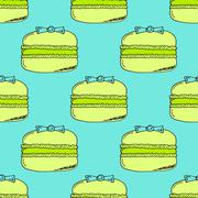 Lime Yellow Hand-drawn Macarons Pattern on Blue Background Stock Illustration