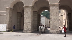 4k Horse-drawn carriage sightseeing tourists Salzburg Stock Footage