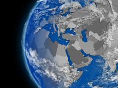EMEA region on political globe - stock illustration