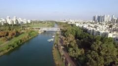Drone shot Tel Aviv Park Stock Footage