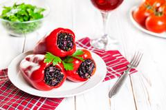 Stuffed capsicums Stock Photos