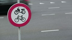 No Cycling Traffic Sign Stock Footage