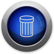 Blue glossy trash web button - stock illustration