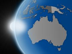 Stock Illustration of Sunset over Australian continent from space