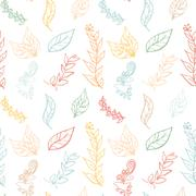 Seamless colorful pattern with leaves in vintage style. Seamless pattern for  Stock Illustration