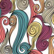 Abstract hand-drawn pattern with waves. Unique coloring book square page for  Stock Illustration