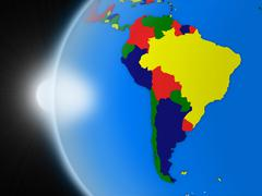 Stock Illustration of Sunset over south american continent from space