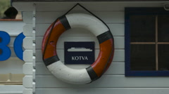 One life buoy on a boat in Prague Stock Footage