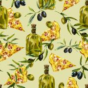 Watercolor seamless pattern with branches and olive Stock Illustration