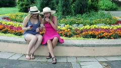 Girlfriends wathing funny things on smartphone in the park Stock Footage