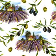 Watercolor seamless pattern with landscape lavender and olives - stock illustration