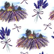 Seamless pattern with landscape and lavender - stock illustration