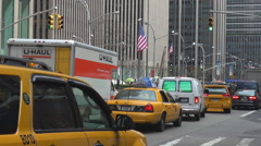 Stock Video Footage of Congestion New York City avenue famous yellow taxi jam Manhattan busy center day