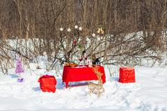 Christmas Table. Holiday Decorations. Decor. New Year Celebration - stock photo
