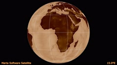 Animated world map in the Marta Software Satellite projection. Luminance. Stock Footage