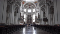 4k Baroque dome cathedral inside in Salzburg Austria Stock Footage