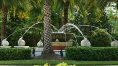 Water Fountain Being Shut off with Lizard Statue Palm Trees, 4K Stock Footage
