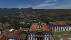 Flying Over Praca Tiradentes Square, Ouro Preto, Minas Gerais Brazil - stock footage