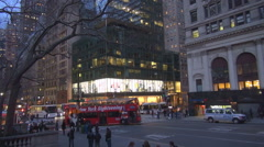 Traffic street Manhattan downtown busy avenue New York City people travel iconic Stock Footage