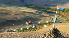 Nomadic yurt camp in Altay mountains Stock Footage