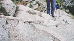 Woman hiking on mountain trek, Close up on feet. Slow Motion. Active life. Stock Footage